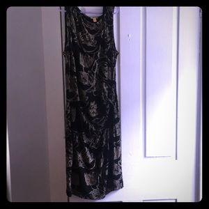 Anthropology- Leifsdottir black dress with flowers